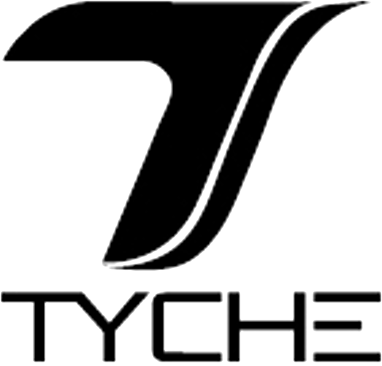 The stylized letter 'T', above the stylized letters 'TYCHE'
